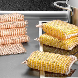 Koperen spons, set van 3 of Koperen doekje, set van 5 Zonder moeite schoon, zonder krassen. Reinigt snel en spaart metaal, glas, etc. Van nature antibacterieel.