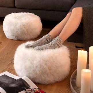Poef/voetenbankje van schapenvacht, 1 stuk, naturel/ivoorkleur Ondersteunt uw benen comfortabel – en houdt uw voeten aangenaam op temperatuur.