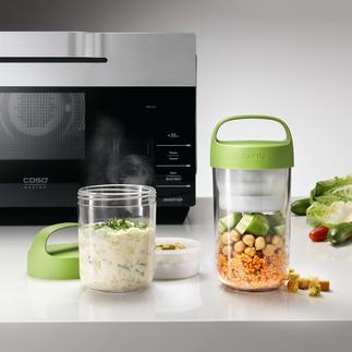 2-in-1-lunchcontainer 100 % lekvrij: 2-in-1-uitvoering voor koude en warme, vaste en vloeibare ingrediënten.