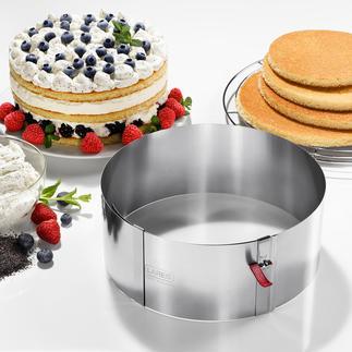 Variabele taartring met klemhendel Deze praktische taartring is traploos verstelbaar. Topkwaliteit, made in Germany.