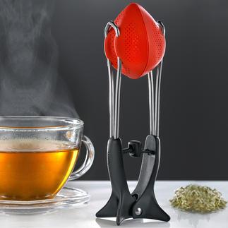 Thee-ei van silicone Flexibel thee-ei van silicone, met innovatieve persfunctie.