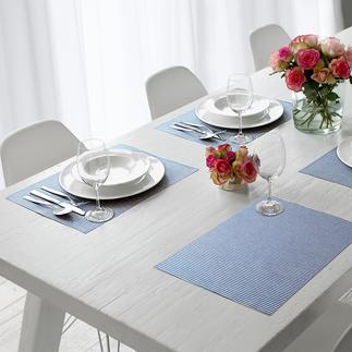 Katoenen placematset of tafelloper met lotuseffect Zacht textiel dat toch gemakkelijk is af te vegen.