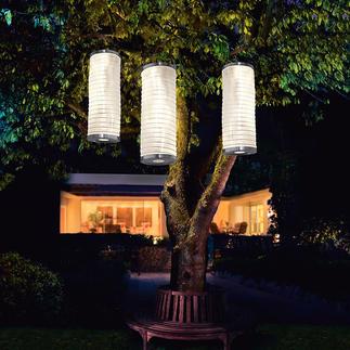Solarlichtzuil, set van 3 Sfeervol verlichte lampions voor in de tuin. Zonder stroomaansluiting, zonder kaarsen.