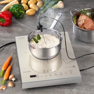 Caso inductiekookplaat Thermo-Control Gaart, kookt en braadt uw gerechten tot op de graad nauwkeurig.