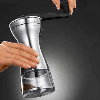 Handkoffiemolen met 18 instellingen De juiste maalgraad voor cafetière, espressomachine, koffiezetapparaat en Turkse koffie.