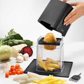 Blokjes- en reepjessnijder voor groente, 7-delige set Een lichte druk op de deksel is genoeg om wortels, koolrabi's, komkommers etc.