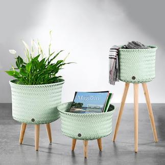 Mand met poten Deze nieuwe manden zijn heel veelzijdig: ideaal voor planten, lectuur, accessoires of plaids.
