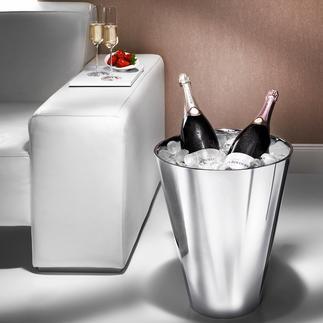 Champagnekoeler In magnum-formaat. Van dubbelwandig edelstaal.
