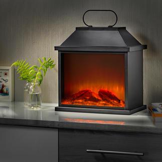 Lantaarn met haardvuur Proef de sfeer van echt vuur – dankzij de slimme led-/simulatortechniek.