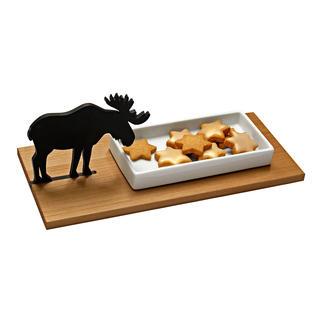 Koekjesschaal eland of Cressenschaal haas Allesbehalve kerstkitsch: schitterende koekjesschaal met elandfiguur.