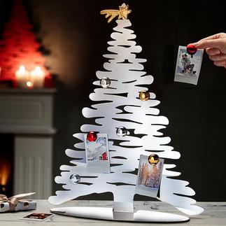 Designerkerstboom Originele voet van rvs, met zeven magneten als kerstboomversiering.