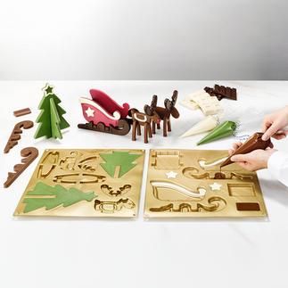 Chocoladevorm, rendierslee Hemelse advent decoratie van chocolade. Van het professionele merk Silikomart®.