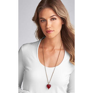 Murano hartvormige hanger of gouden ketting Glanzend goud in een stijlvol hart van Muranoglas.