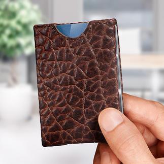 Wallet Markant bisonleer. Geniaal vierzijdig insteeksysteem.
