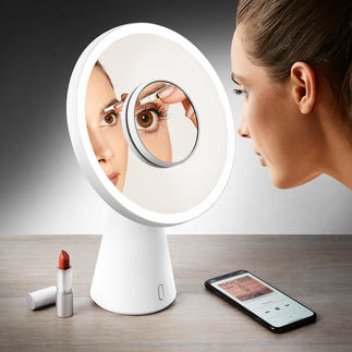 4-in-1 make-up spiegel 'Moon Mirror' Met één handgreep van make-up spiegel naar tafellamp.