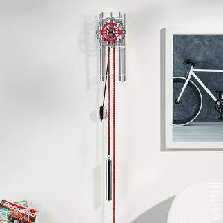 Design wandklok met slinger 'Fiets' De schoonheid van pure mechanica.
