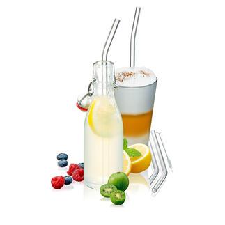 Glazen rietje, set van 8 Rietje van borosilicaatglas in plaats van plastic: stevig, onderhoudsarm en recyclebaar.