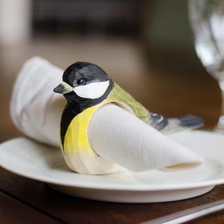 Servetringen vogels, set van 6 Uw gevleugelde vrienden, in de vorm van prachtige houten, met de hand gemaakte servetringen.
