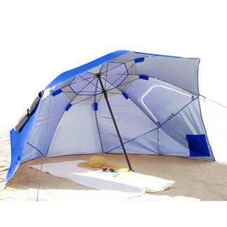 Beach-Brella Reusachtige bescherming tegen zon, regen én wind.