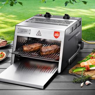 O.F.B. hogetemperatuurgrill inclusief snijplank Nu nog beter: 800 °C-steakgrill met extra groot grilloppervlak. Voor binnen en buiten.