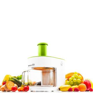 Slice & Dice® multifunctionele keukenmachine Snijdt met één druk op de knop blokjes, spiralen, reepjes en schijfjes.