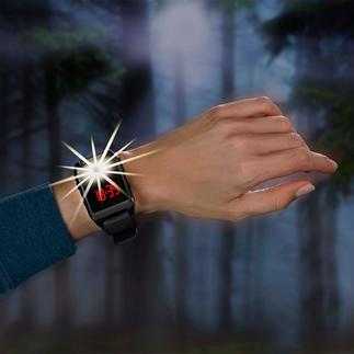 Horloge met 120 decibel-alarm Bij een noodgeval met één tip van de vinger geactiveerd.