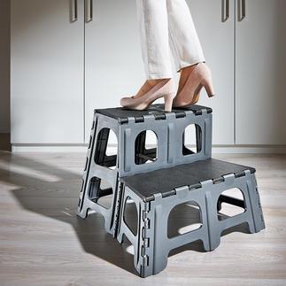 Inklapbaar trapje (2 treden) Met één handeling uit- en weer ingeklapt - tot slechts 5 cm dikte.