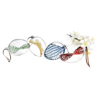 Glazen paaseieren, set van 4 Ultieme glasblaaskunst voor uw paasboeket. Elk artikel is uniek.