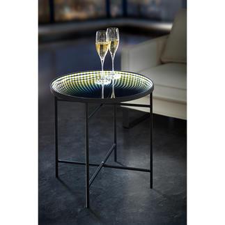 Reflecterende ledtafel Magisch lichteffect: tafel met led-lichtrand en infinity-spiegel.