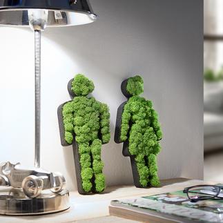 Pictogram vrouw/man van mos Mooie decoratie voor in huis en om cadeau te geven. 100% natuur, 0% onderhoud.