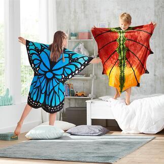 Poncho met print Een mooie vlinder of draak worden is kinderspel – heerlijk warm worden ook.