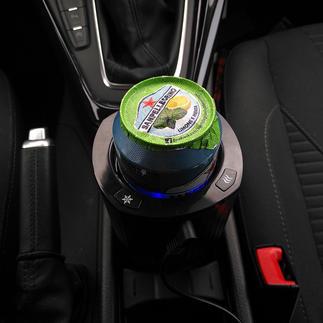 Blikjes-/flessenkoeler voor in de auto Nu ook onderweg genieten van perfect gekoelde drankjes.