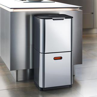 Afvalscheidingssysteem 'Intelligent Waste' Stijlvol, clean design met een praktische indeling. Van Joseph Joseph, Londen.