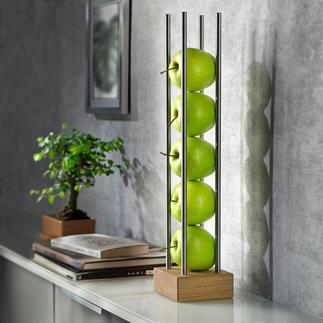 Fruitstandaard Modern hout-rvs-design bewaart en presenteert het fruit luchtig en decoratief tegelijk.