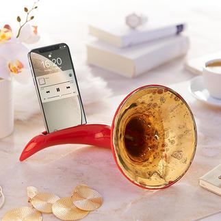 Nostalgische smartphone-versterker Waarschijnlijk de mooiste versterker voor je smartphone. Zonder stroom, zonder kabels.
