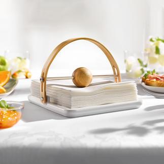 Design-servethouder Elegante blikvanger op tafel en buffet. Gemaakt van eiken en keramiek.