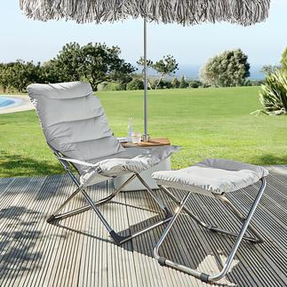 Fiamklapstoel of voetenkrukje Schitterend Italiaans, inklapbaar design: de perfecte ligstoel voor op het terras, in de tuin of bij het zwembad.