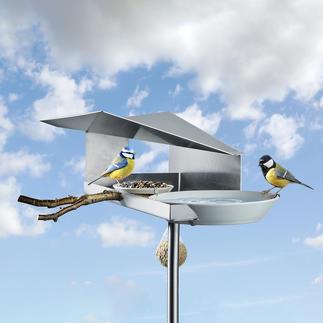 Design-vogelvoederhuisje Beschermt het voer als het regent en vult tegelijkertijd de drinkbak.