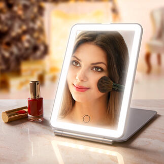 Inklapbare make-upspiegel Extra groot spiegelvlak. Optimale verlichting. Elegant, plat design. Ideaal voor thuis of om mee te nemen op reis.
