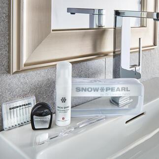 Snow Pearl verzorgings- en tandbleekkit, 5-delig (50 ml-reservoir) Luxe voor de tanden: hoogwaardige reisset om het gebit optimaal te kunnen verzorgen en bleken.