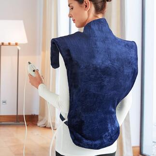 Warmte- en massagekussen Deluxe Verwarmt u vanaf uw heupen tot boven in uw nek en zit comfortabel om de schouders.