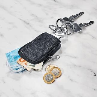 Zak-sleutelhanger Het kleine leren tasje is ideaal voor kleingeld, een muntje voor de boodschappenwagen, uw masker, ...