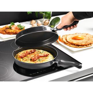 Dubbele inductiepan Nu voor alle warmtebronnen, inclusief inductie: dubbele pan waarmee u veilig en zonder te knoeien omeletten en pannenkoeken bakt.