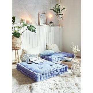 XXL-vloerkussen Net zo 'hygge' als bij de Denen: royaal vloerkussen in relaxte loungestijl. Perfect als zitplaats, om comfortabel op te ontspannen en uit te rusten.