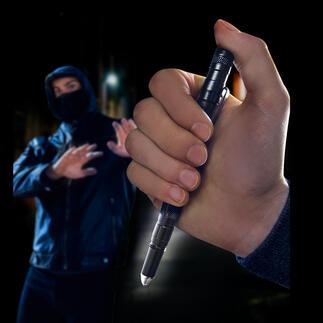 Tactische pen 9-in-1: o.a. een stevige balpen, ledlampje, glasbreker, en een hulpmiddel om uzelf mee te verdedigen.