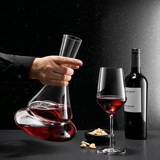 Doppio decanteerkaraf met twee niveaus 's Werelds eerste decanteerkaraf met twee niveaus: een must-have voor wijnkenners en liefhebbers van bijzondere designs.