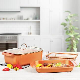Copperline WonderCooker, 4-delig Een multitalent voor alle taken: dubbele braadpan van 12,1 l, (grill)pan, sudderpan, stoomoven, slow cooker, ...