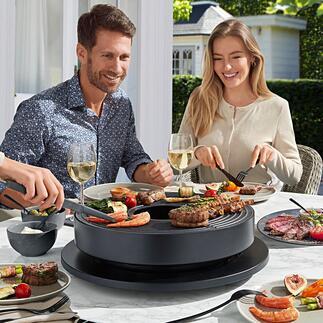 Design-tafelgrill Tabl'O Cool: design-tafelgrill, verwarmd met briketten. Met gietijzeren grillplaat en 'plancha'. Perfect voor gevarieerde culinaire hoogstandjes in een gezellige sfeer.