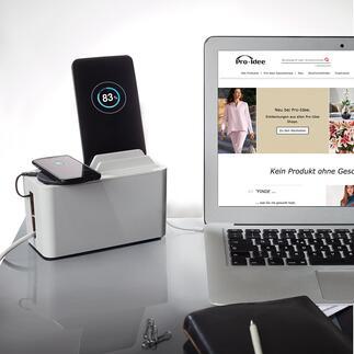 Design-oplaadbox Mini Station Deze moderne designbox houdt uw smartphone, tablet en e-reader tijdens het opladen binnen handbereik en verbergt kabels en stekkerdoos.