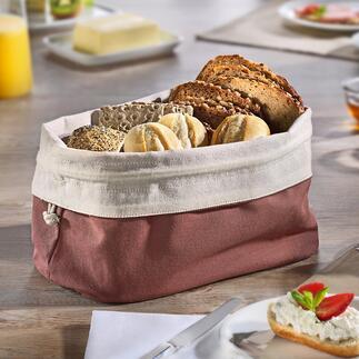 2-in-1 broodzak Decoratieve broodmand en duurzame opbergzak in één. Puur natuurlijk. Herbruikbaar.
